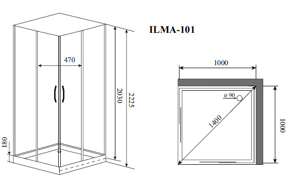 Душевая кабина Timo ILMA 101 (1000*1000*2225)