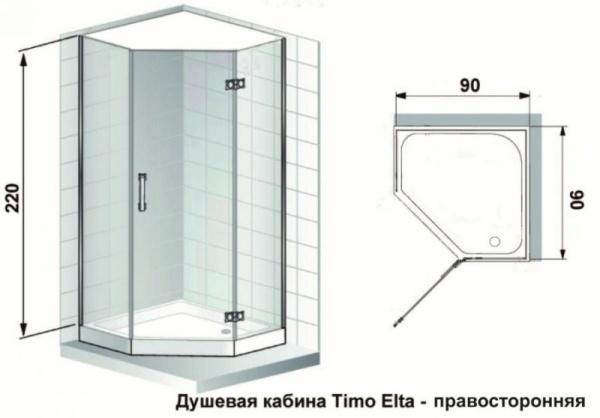 Душевая кабина Timo ELTA H-312 R (90*90*220)