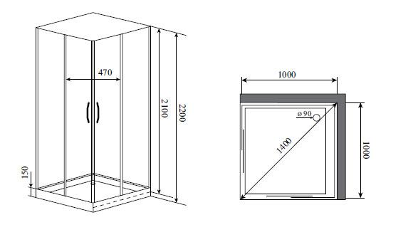 Душевая кабина Timo NURA H-516 (100*100*200)