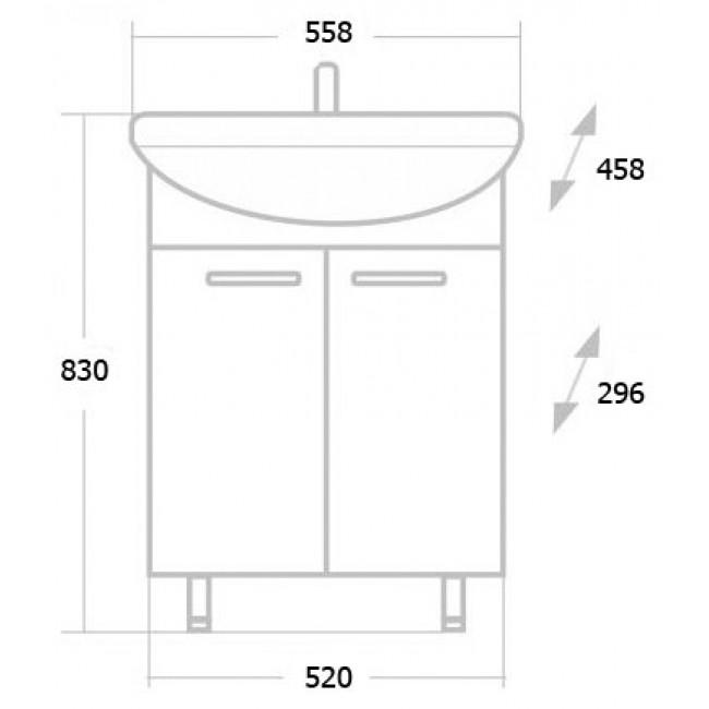Тумба с раковиной Onika для ванной Onika Классик 55.10