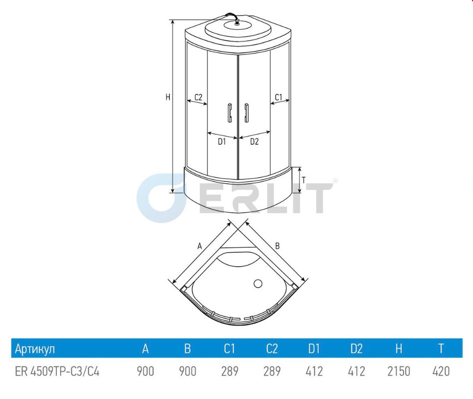 Душевая кабина ERLIT ER4509TP-C3 - RUS 90x90x215 поддон с тонкими бортами