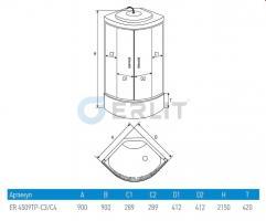 Душевая кабина ERLIT ER4509TP-C4-RUS 90x90x215 поддон с тонкими бортами_3