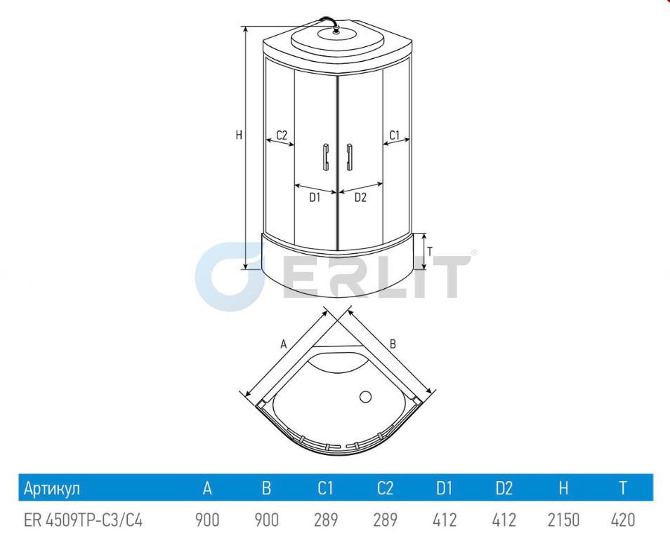 Душевая кабина ERLIT ER4509TP-C4-RUS 90x90x215 поддон с тонкими бортами