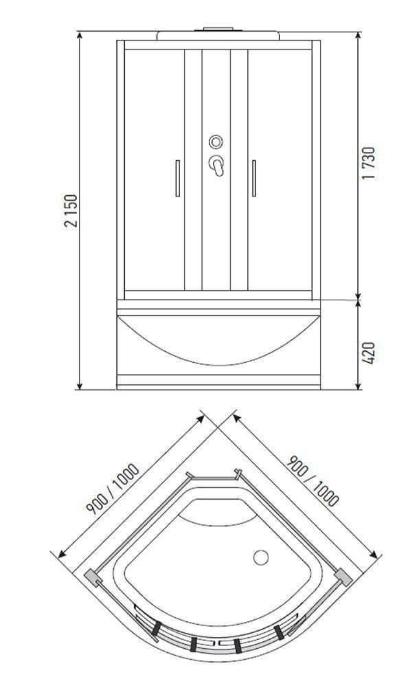 Душевая кабина ERLIT ER 3510 Р-С3 100x100x215