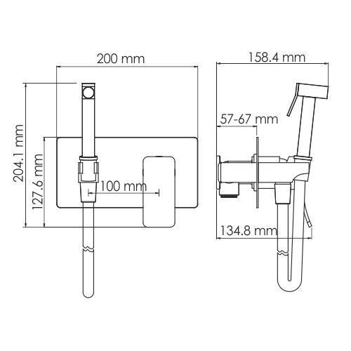 WasserKRAFT Aller 10638 Встраиваемый смеситель для душа с гигиенической лейкой