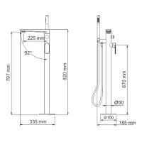 WasserKRAFT Dinkel 5821 Напольный смеситель для ванны_2