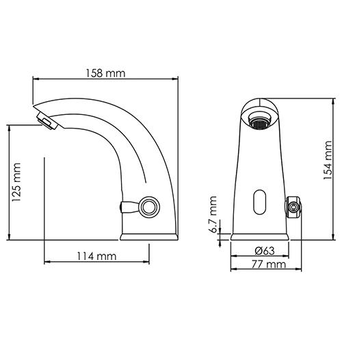 WasserKRAFT Rossel 2813 Сенсорный смеситель для умывальника