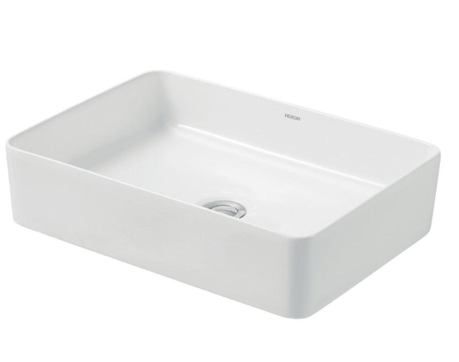 Раковина-чаша прямоугольная CRÉO 500х350х140 мм белая накладная керамическая тонкостенная