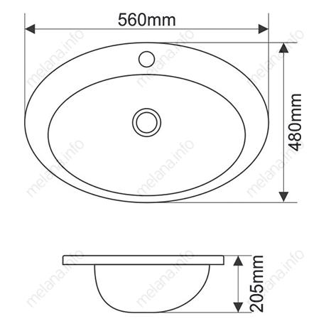 Раковина MELANA MLN-308 (T808)